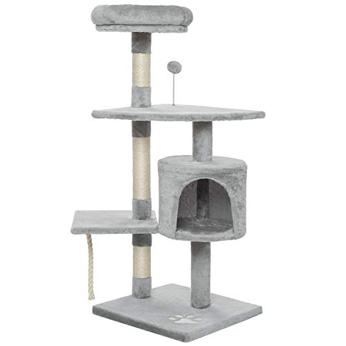 Meerveil Cat Scratch Posts Cat Tree Cat Scratching Post Large with Cat Room and Hammock, Hanging Woobies Toy, Two Platforms, Height 150cm (Little Light Grey)