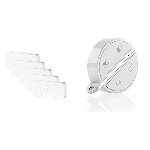 Somfy 2401488 - Pack de 5 IntelliTAG | Détecteurs Auto-protégés de Vibration et d'ouverture & Somfy Home Alarm & 2401489 - Badge d'activation et de désactivation Alarme | Fonction Mains Libres