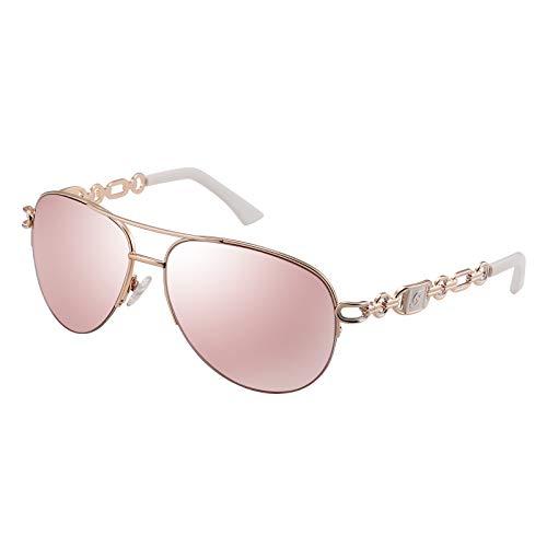 Klassische Piloten-Sonnenbrille für Frauen, verspiegelte Gläser, Kettenarme, halber Rand, Metallrahmen, Sonnenbrille, UV 400 Schutz, 60 mm, Linse: Rosa/Rahmen: Gold/Bügel: Weiß, Einheitsgröße
