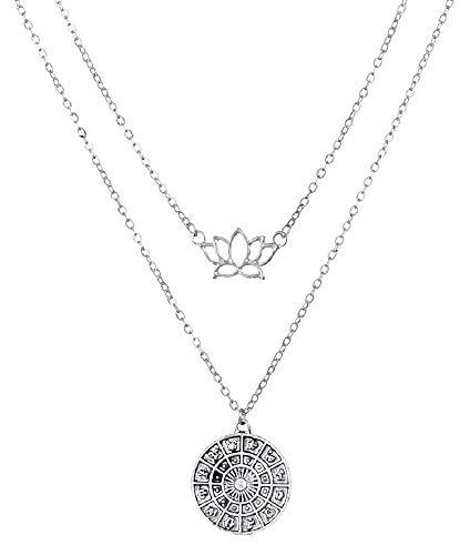 Sterrenbeelden ketting - dierenriem - astrologie - lotusbloem - dierenriem - meerlagig - multi-draad - origineel cadeau-idee - twee draden - verjaardag - kerstmis - zilver - sieraden