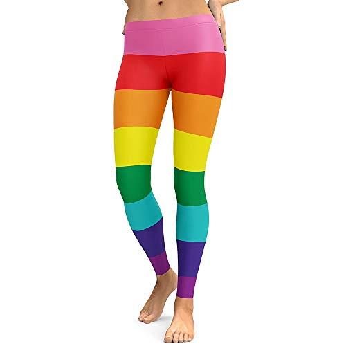 MAOYYMYJK Dame Leggings Regenbogen farbige Streifen Fitness Leggings Stretch Digital Bedruckte Hosen Plus Size Slim Leggings