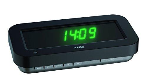 """TFA """"HOLOclock"""" Funkuhr mit 3D-Effekt 60.5009.04, patentierte Optik lässt die Anzeige praktisch in der Luft schweben, mit Anzeige von Uhrzeit, Datum oder Temperatur, LED, grün"""