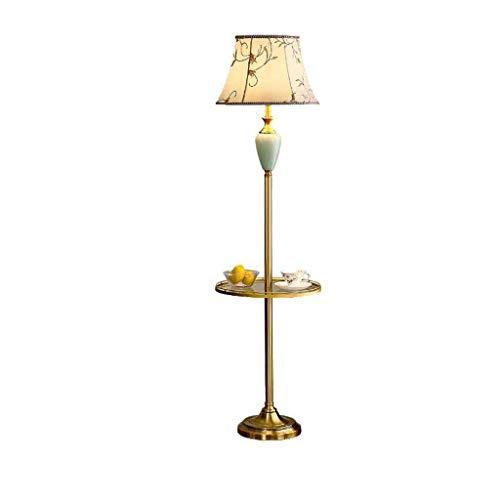 ZCYXQR Lámpara de pie LED M 63,7'de Altura, Bandeja Redonda, Cuerpo de lámpara Cromado Cerami para Dormitorio, Sala de Estar, Oficina