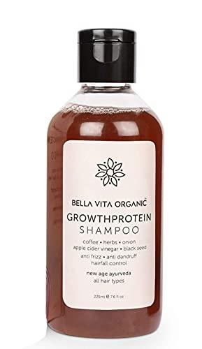 Glamorous Hub Bella Vita Champú de proteína de crecimiento orgánico para volumen, caída, caspa, control del encrespamiento, brillo y fuerza del cabello - 225 ml