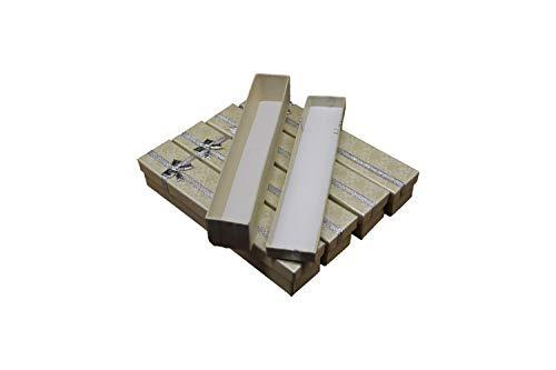 Caja regalo de cartón en color beige con tapa de raso plateado y cinta - Paquete de 30 unidades