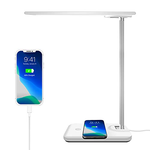AOBISI LED Desk Lamp with Wireless Charging&USB Charging port, Eye-caring Dimmable Office Desk Lamp, Touch Control, 3 Ligh.