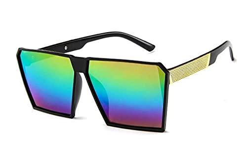 U/N Gafas de Sol cuadradas de Gran tamaño con Espejo para Mujer Gafas de Sol con Parte Superior Plana de Moda clásica para Hombres Unisex-5