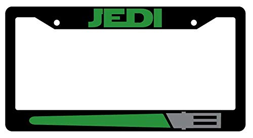 License Plate Frames, Jedi GREEN Black Metal License Plate Frame Star Wars Applicable to Standard car Unisex-Adult Car Licenses Plate Covers Holders Frames for Plates 15x30cm