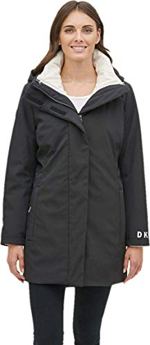 DKNY Womens Black And White 3-In-1 Hooded Jacket Coat Parka (Small)