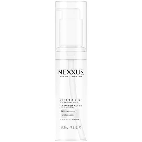 Nexxus Clean & Pure 5in1 Invisible Hair Oil, Hair Oil for Frizzy Hair, Nourishing Detox Paraben-Free, Dye-Free 3.3 oz