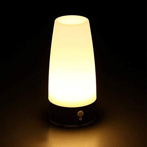Dewanxin Lampe de Chevet Carrée Nuit de LED Lampe de Table sans Fil avec détecteur de Mouvement à Infrarouge (PIR) et Ampoules Super Brillante à Del (LED) alimentée par Batterie pour couloirs Sombres