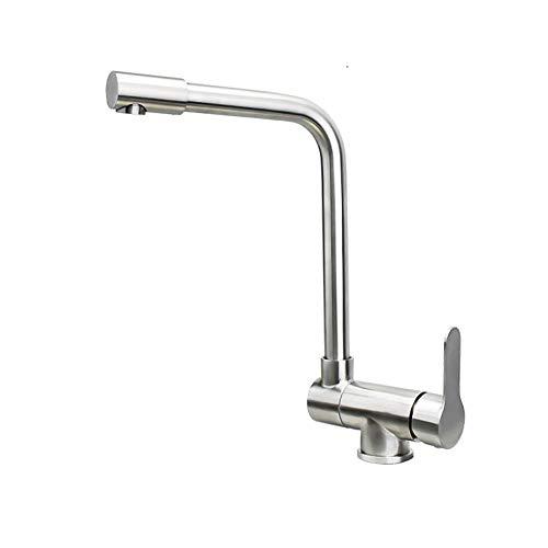 grifo cocina abatible ventana, grifo de cocina, acero inoxidable 304, fregadero, giratoriogrifo cocina abatible y extraible-Cepillado A