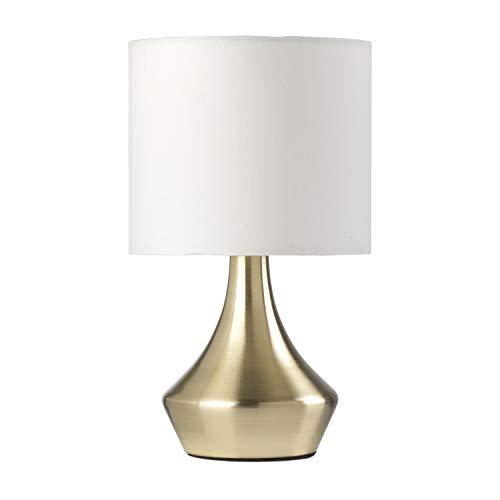 ONLI Lámpara de mesa dorada de metal satinado y pantalla de