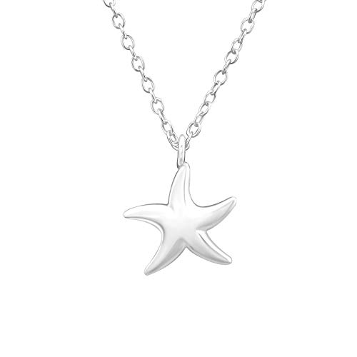 Monkimau Women's Necklace Starfish Pendant 925 Sterling Silver Real Silver with 45 cm Chain