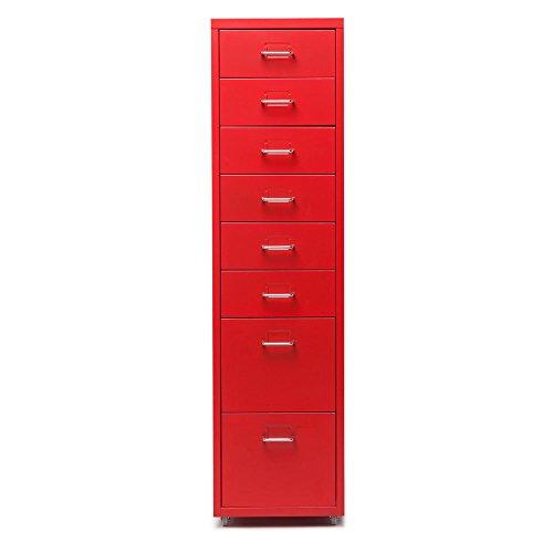 iKayaa- Armadietto Spogliatoio, Armadio Ufficio, Cassettiera per Mobile in Acciaio Rimovibile con cassetto in Metallo 8 cassetti e 4 rotelle