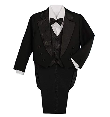 Lito Angels Baby Boys' Classic Fit Tuxedo Suit with Tail Formal Suits Wedding Outfit 5 Piece Set Size 18-24 Months Black
