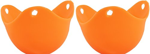 Reliable Home Products - Best Egg Poacher Cups - Makes a Perfect Single Poached Egg Dish in Silicone Pod Steamer Cooked in a Pan - Pack of 2 Basket Holders - Color is Orange Pouch