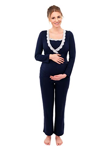 Herzmutter Stillpyjama-Umstandspyjama - Schlafanzug für Damen mit Spitze - Nachtwäsche für Schwangerschaft-Stillzeit - Pyjama-Set mit Stillfunktion - Lang-Langarm - Blau-Grau-Taupe - 2000 (M, Blau)