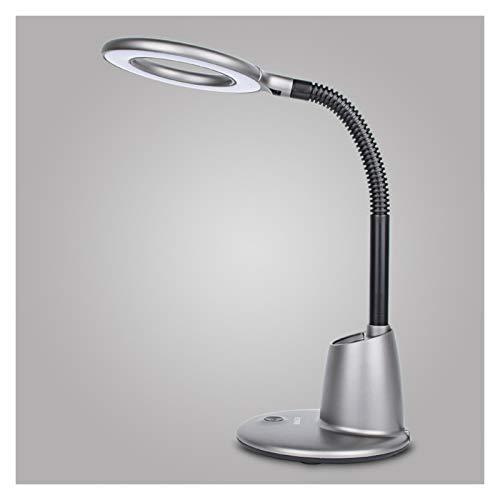 Lámparas de Escritorio Lámpara de escritorio LED con 3 niveles de brillo de nivel 9W Enchufe luces de lectura, lámpara de escritorio anticuada para lectura, estudio y oficina (gris / plata) para Dormi