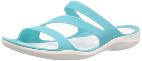 Crocs Swiftwater Sandal Women, Sandalias de Punta Descubierta para Mujer, Azul (Pool/White 4dy), 36/37 EU