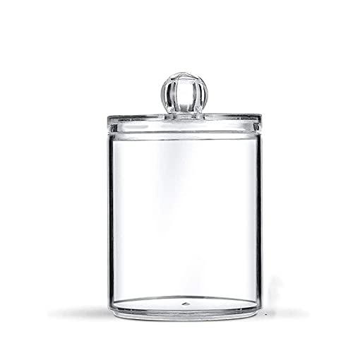 WNAVX 1 Piece Makeup Storage Box, Bathroom Accessories, Cotton swabs, Cotton Accessories, Round Transparent Plastic (Color : Transparent1)