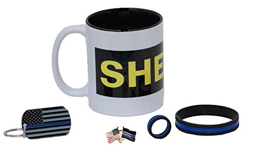 Black and Gold Sheriff Coffee Cup | Sheriff Coffee Mug | Thin Blue Line Gift Set | Police Gift | Sheriff's Office Gift | Police Key Chain | Police wristband |