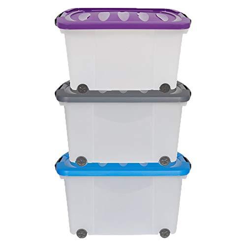 Doriantrade Aufbewahrungsbox mit Deckel 60 l Stapelboxen Kunststoffboxen Box Boxen Kisten Ordnungsboxen für Kinderzimmer, Schlafzimmer, Büro, Werkstatt und Küche