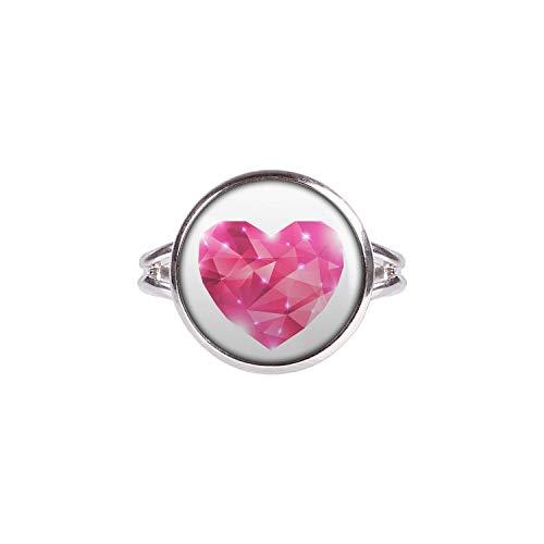 Mylery Anillo con Motivo Corazón la Chispa del Brillo de la Piedra Preciosa Rosa Rosa Plata 14mm