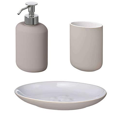 IKEA EKOLN Badezimmer-Set Zahnbürste, Halter, Seifenschale, Seifenspender [Beige] (Badezimmer-Set 3-teilig)