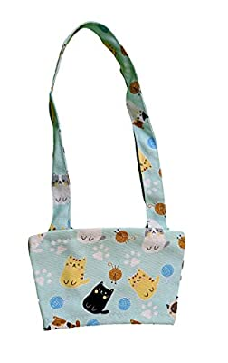 Bubble Tea Carrier - Bubble Tea Holder with Straw Sleeve - Boba Carrier (Light Blue Cats)