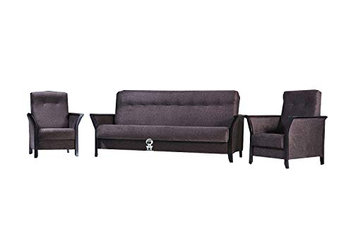 mb-moebel Polstergarnitur 3er Sofa und Zwei Sessel Couch mit Bettkasten und Schlaffunktion Wohnzimmer Set 311 Barbados Braun