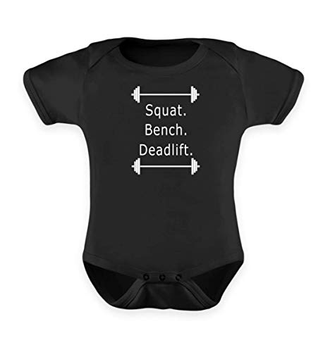 Hantel Powerlifting Squat Bench Deadlift Design - Barbell - White Print - Baby Body