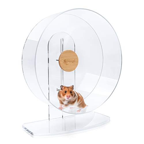 Niteangel Silent Hamster Exercise Wheel: - Dual-Bearing Quiet Spinning Acrylic Hamster Running Wheel for Dwarf Hamster Gerbils Mice Degus Or Other Small Animals (L)