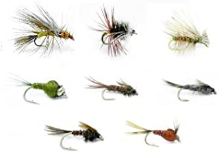 Feeder Creek Fly Fishing Assortment for Trout and Other Freshwater Fish - 32 Hand Tied Fishing Flies - 8 Patterns Wet and Dry Flies - Stimulator, Renegade, Caddis, Bead Head Nymphs - Sold