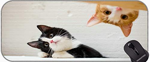 Juego extendido Mouse Pad, Gatito Animal Cat Professional Mousepad, Bordes cosidos