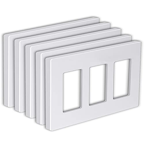 """[5 Pack] BESTTEN 3-Gang Screwless Wall Plate, USWP6 Snow White Series, Decorator Outlet Cover, H4.69"""" x W6.54"""", for Light Switch, Dimmer, GFCI, USB Receptacle"""