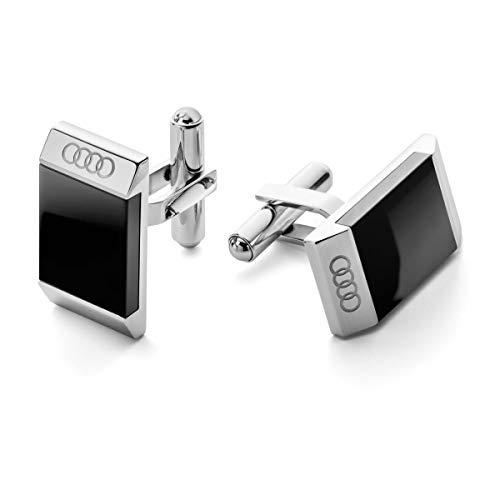 Audi collection 3291800200 Manschettenknöpfe Herren, schwarz/Silber
