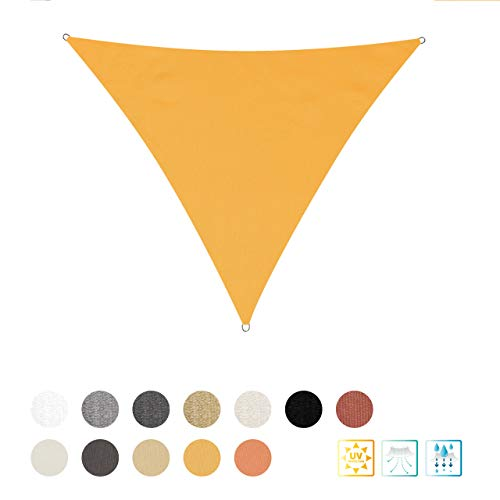 Lumaland Tenda a Vela Parasole Triangolare Incluse Corde di Fissaggio  Poliestere con Doppio Rivestimento in PU   Triangolo 3 x 3 x 3 Metri   160 g/m² Giallo