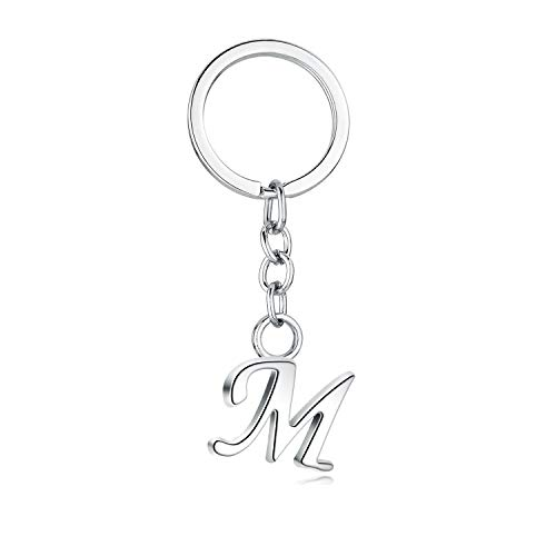 JewelBeauty - Ciondolo in lega con 26 lettere dell'alfabeto inglese, stile semplice, con iniziale in metallo (M)