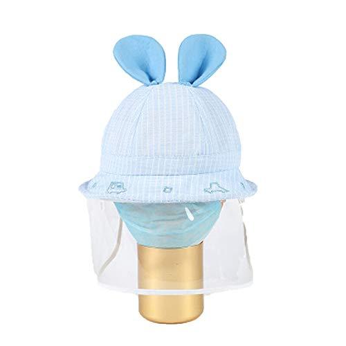 Cartoon Enfants de Protection Chapeaux avec Couvercle Transparent Visage, Coton bébé 3D Oreille Belle Anti-poussière Bobs for extérieur Accueil Voyage (Color : Green)