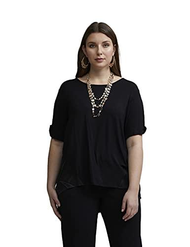 Fiorella Rubino : T-Shirt con Inserti in Raso Nero L Donna (Plus Size)