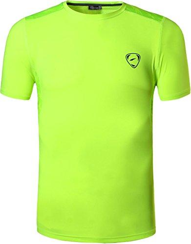 jeansian Hombres Camiseta Deporte Delgado Tapas Men Quick-Dry T-Shirt Sport Slim Tops LSL020 (US S/Label M, LSL192_GreenYellow)
