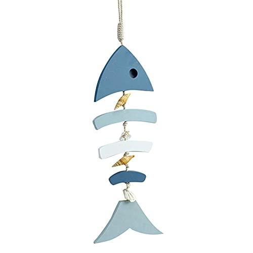 QFDM DIY Dekoration Hölzerne Fischdekor Fischverzierung mit Conch und Muscheln für Nautik Dekoration Strand Ornamente Gartendekoration Partydekoration (Color : Blue White)