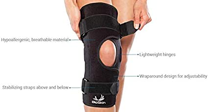 by BioSkin MCL Front Closure Hinged Knee Brace for ACL Meniscus /& General Knee Pain XL Wraparound Hinged Knee Brace