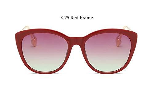 NNGETUI Elegante zonnebril van metaal rode luipaardschaduw voor dames grote zonnebril mode dames 2019 Luxury Temples Gradient glazen