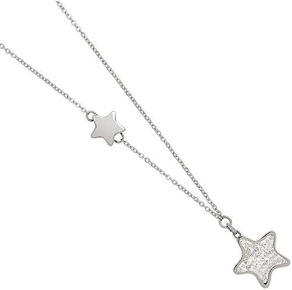 Boccadamo, collana per donna,in acciaio rodiato con stella intercalare e stella pendente glitterata Gg/Gr16