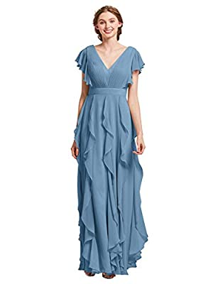 AW BRIDAL Long Chiffon Dusty Blue Plus Size Bridesmaid Dresses with Sleeves Formal Dresses for Women Party Wedding Prom, US16