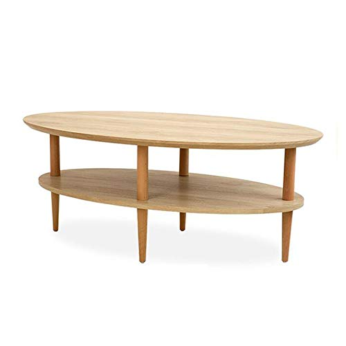Desk Xiaolin Table de thé en Bois Massif pour Table de Salon Double Couche de Table Basse de Table Ovale Moderne pour Petits espaces 43.3\