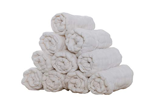 Prefold Windeleinlage, Spucktuch, 12 Lagen, Baumwolle, 10 Stück