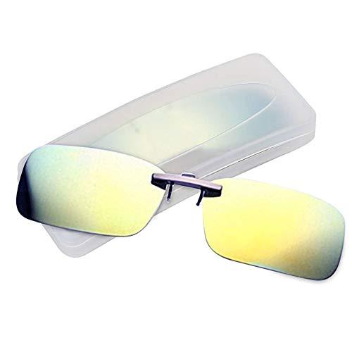 クリップオン サングラス 偏光サングラス クリップ UV400 夜間運転 偏光スポーツサングラス 偏光レンズ メガネの上からつけられる 付きサングラス 跳ね上げ 偏光クリップ眼鏡 紫外線カット 前掛けクリップ式サングラ ス 収納ケース付き 超軽量 (レモン